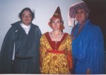 Phillip, Sandra, and Ron at Medieval wedding, 1998.